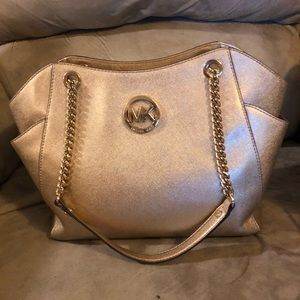 Michael kors gold leather purse w matching wallet